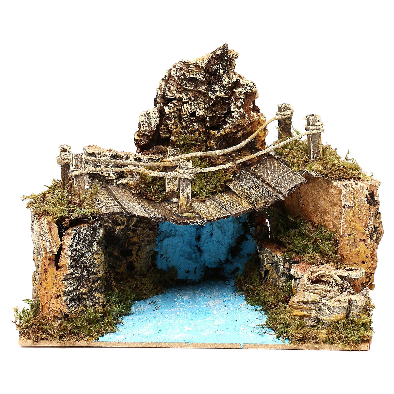 Nativity setting, bridge on lake 20x12cm 4