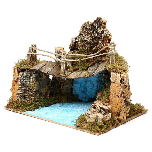 Nativity setting, bridge on lake 20x12cm 2
