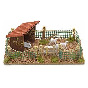 Ambientazioni, botteghe, case, pozzi: Recinto con pecore 20x12 cm