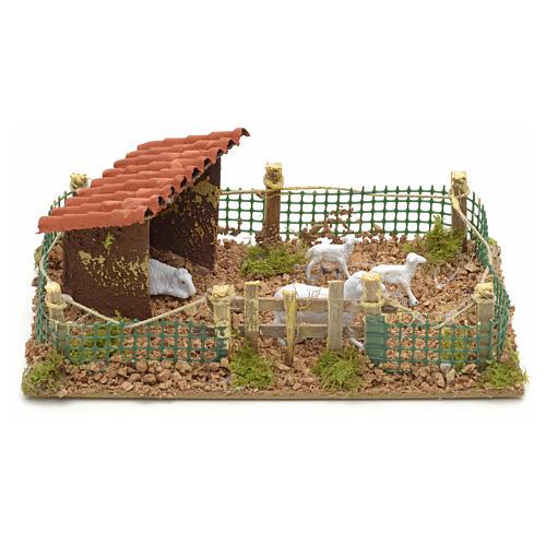 Recinto con pecore 20x12 cm 1