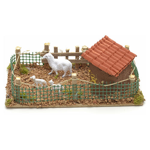 Recinto con pecore 20x12 cm 2