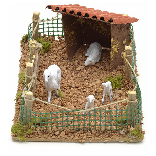 Recinto con pecore 20x12 cm 3