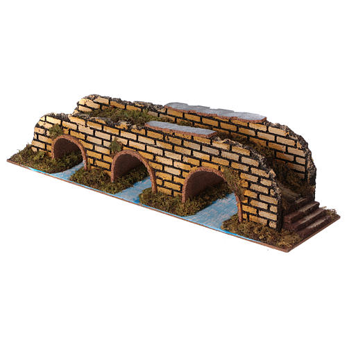 Ponte su fiume 3 arcate cm 35x10x8,5 2