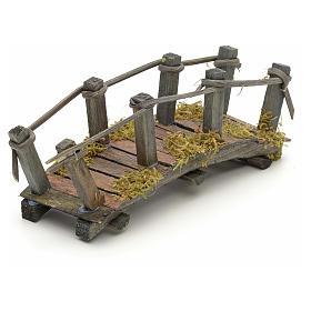 Pont en bois en miniature pour crèche 17,5x6x7 cm s2