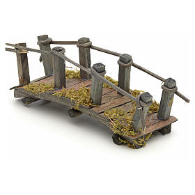 Pont en bois en miniature pour crèche 17,5x6x7 cm s3