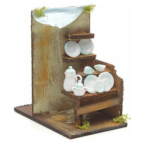 Boutique de vaisselle en miniature pour crèche 20x33x18 2