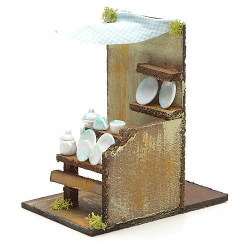 Boutique de vaisselle en miniature pour crèche 20x33x18 3