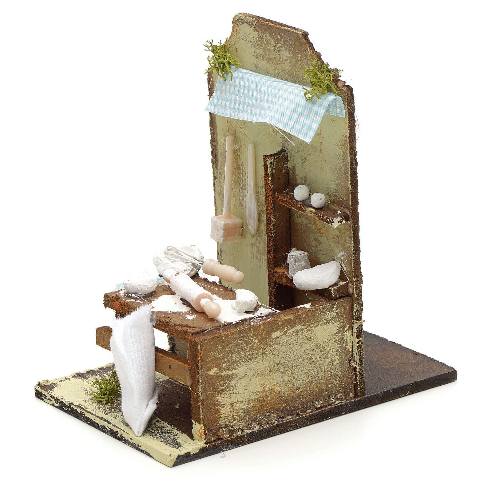 Atelier du boulanger en miniature pour crèche 15x10 cm 4