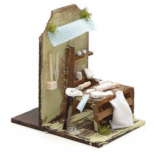 Atelier du boulanger en miniature pour crèche 15x10 cm 2
