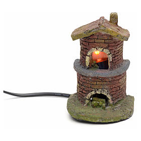 Nativity accessory, oven with flame effect light s4