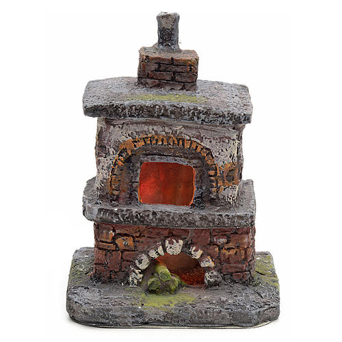 Nativity accessory, oven with red/yellow LED lights 1