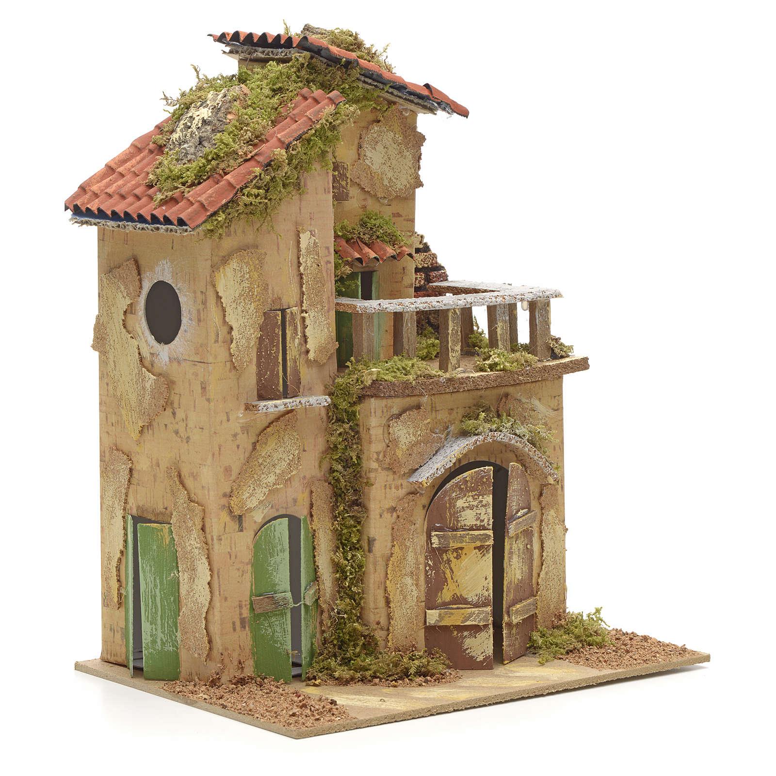 Farmhouse with balcony for nativities 21x16cm 4