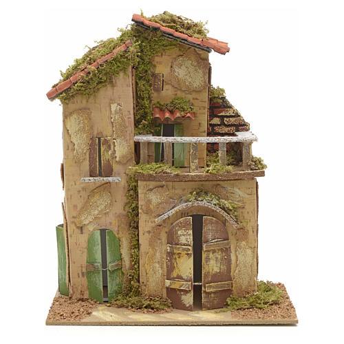 Farmhouse with balcony for nativities 21x16cm 1