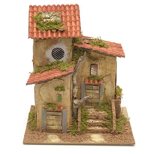 Farmhouse with two entrances for nativities 25x21x16cm 1