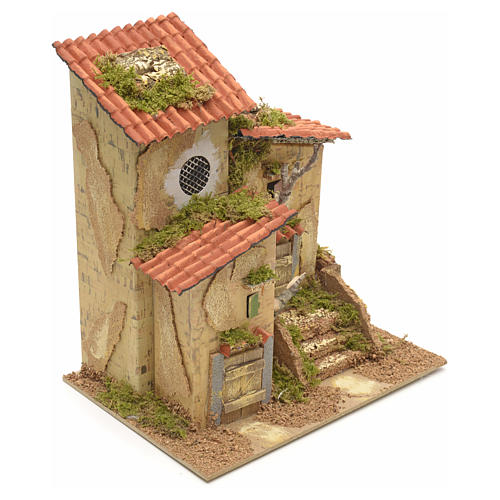 Farmhouse with two entrances for nativities 25x21x16cm 2