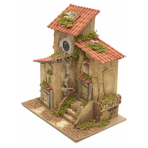 Farmhouse with two entrances for nativities 25x21x16cm 3
