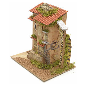 Farmhouse with tree for nativities 25x21x16cm s3