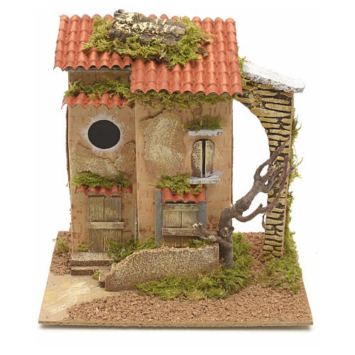 Farmhouse with tree for nativities 25x21x16cm 1