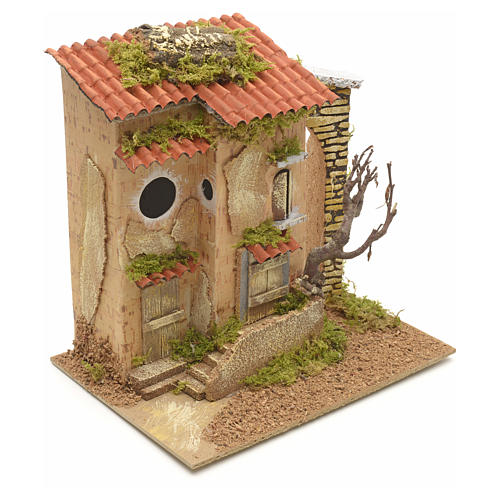 Farmhouse with tree for nativities 25x21x16cm 2