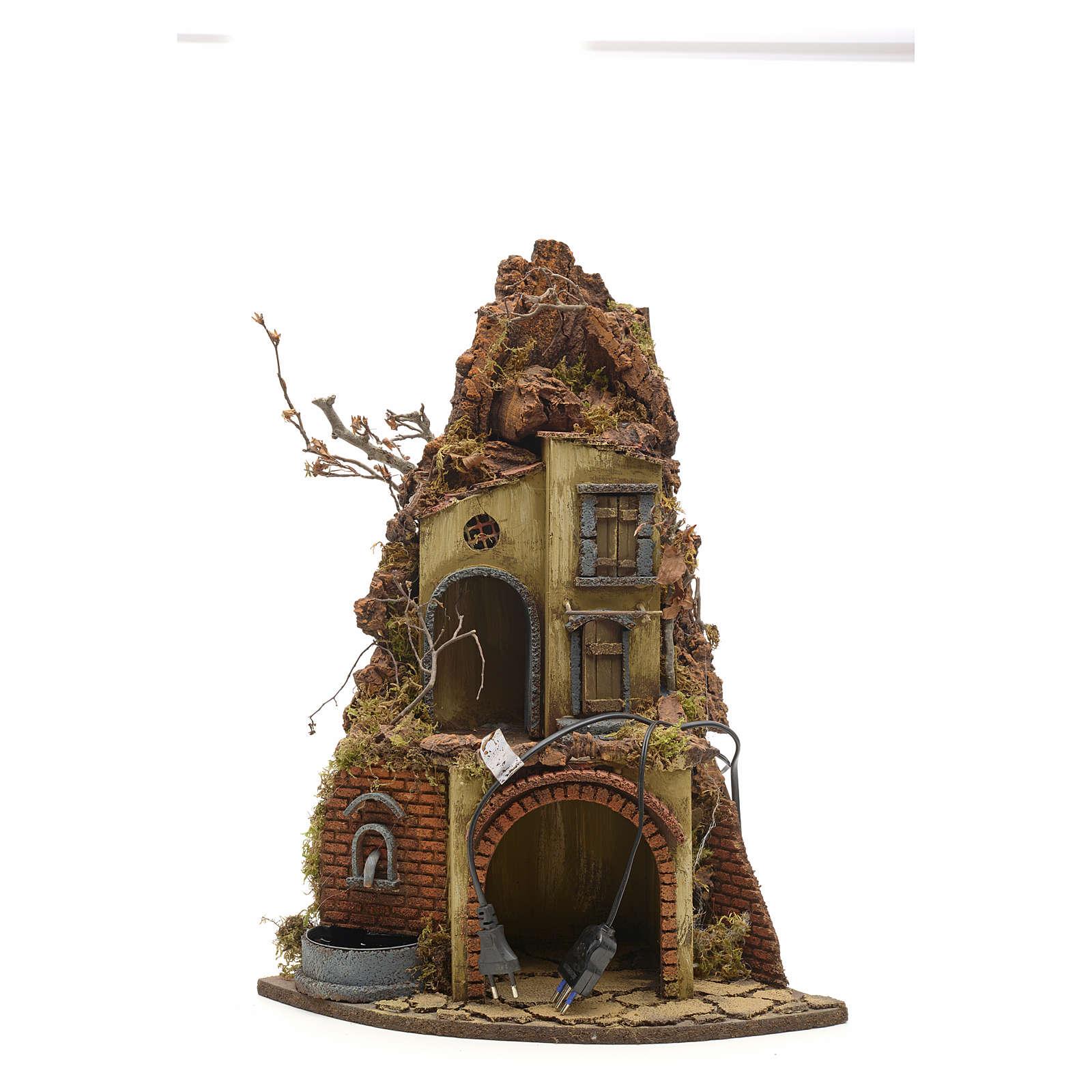Bourg avec étable et fontaine crèche Napolitaine 4