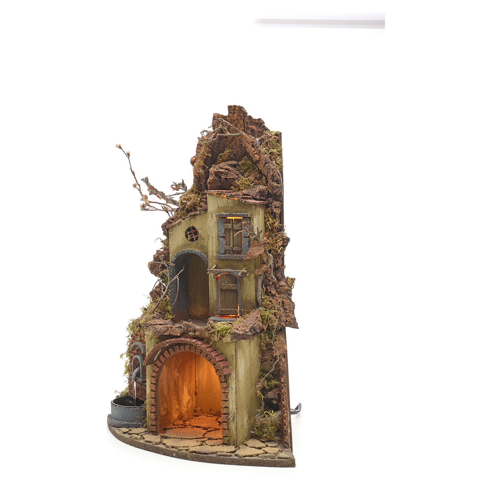 Borgo illuminato angolo e fontana presepe napoletano 4