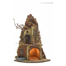 Neapolitan Nativity scene, village with fountain and stall s1