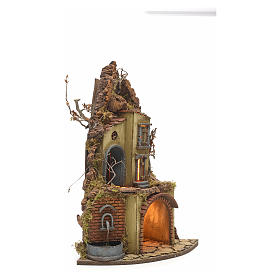Neapolitan Nativity scene, village with fountain and stall s2
