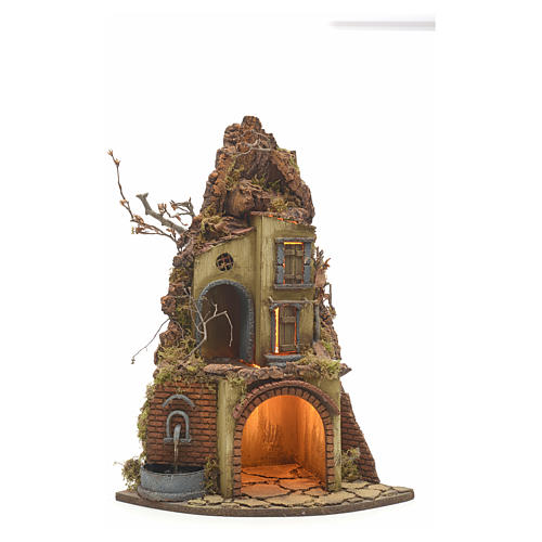 Neapolitan Nativity scene, village with fountain and stall 1
