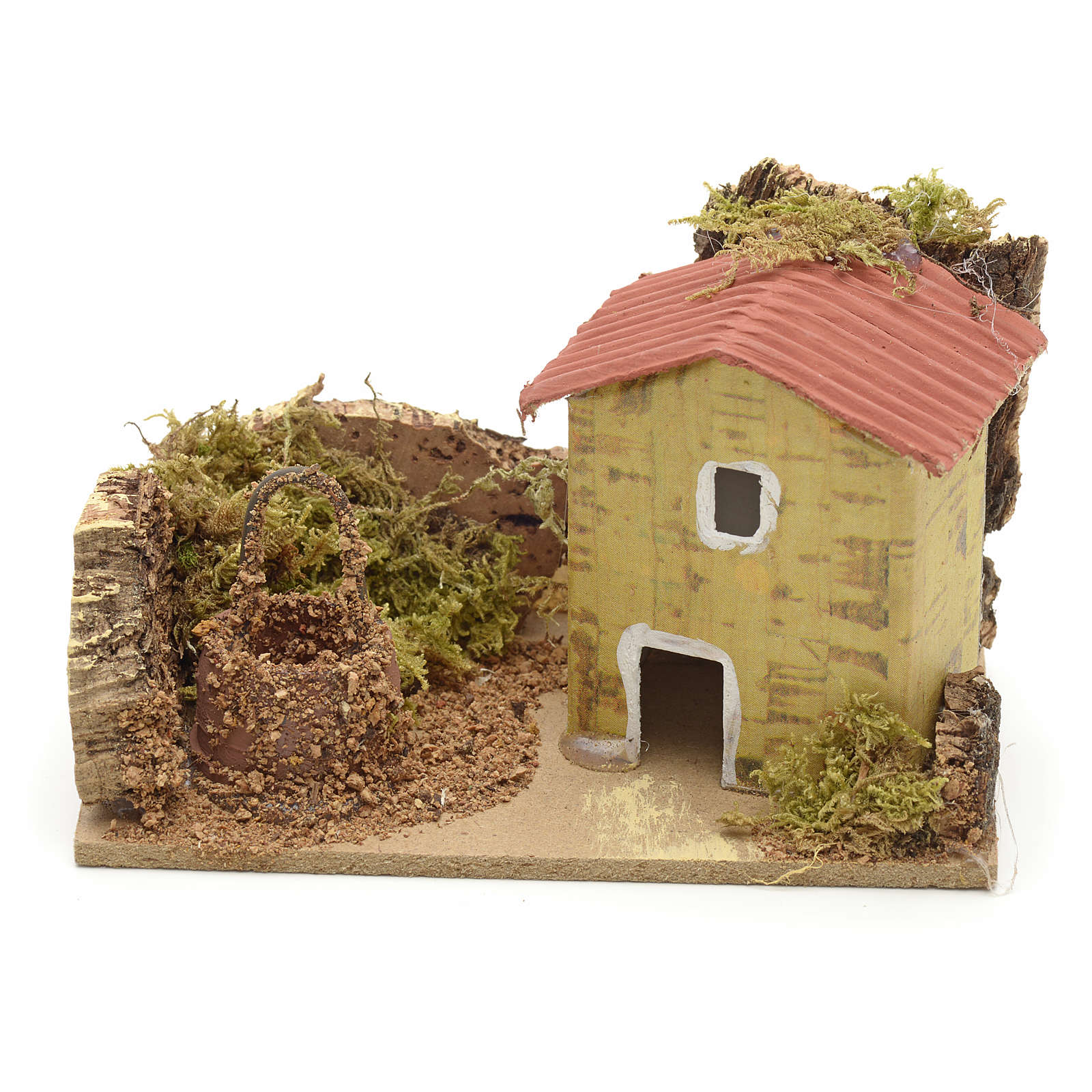 Décor crèche maison et puits 10x6 4