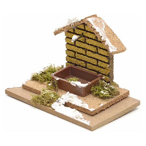 Nativity setting, manger covered with snow 10x6cm 2