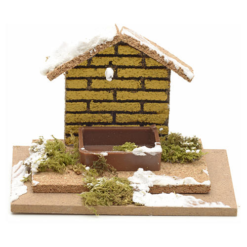 Nativity setting, manger covered with snow 10x6cm 1