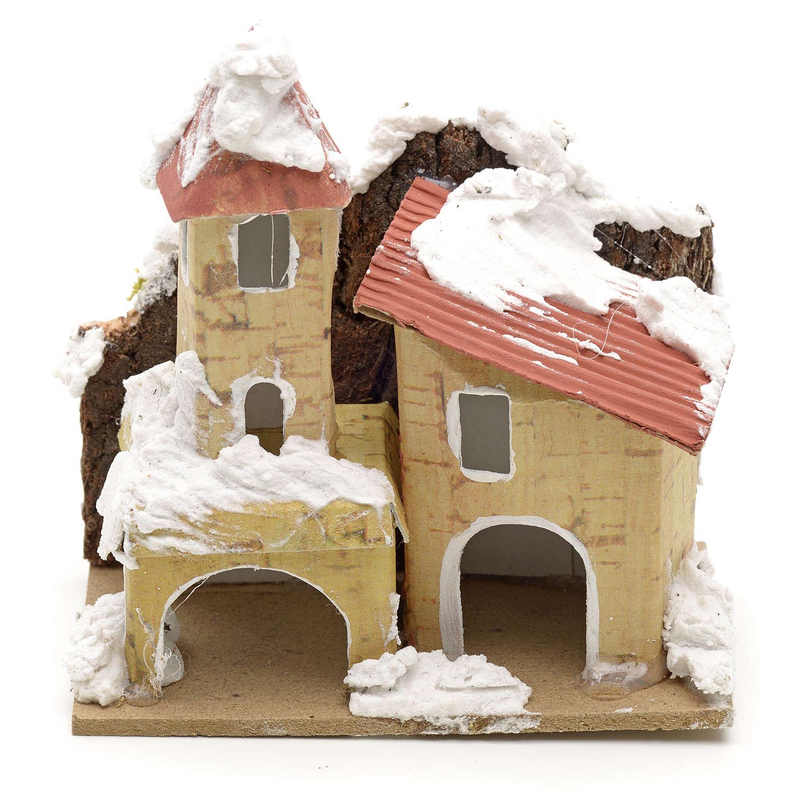 Décor crèche maisons enneigées 10x6 4