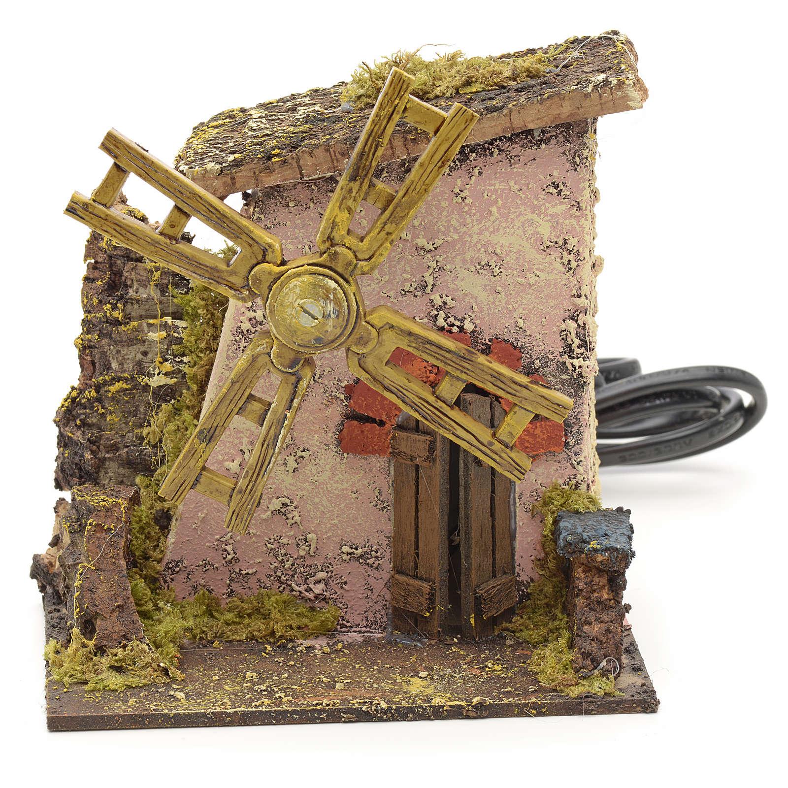 Casolare con mulino a vento presepe 13x12x11 cm 4