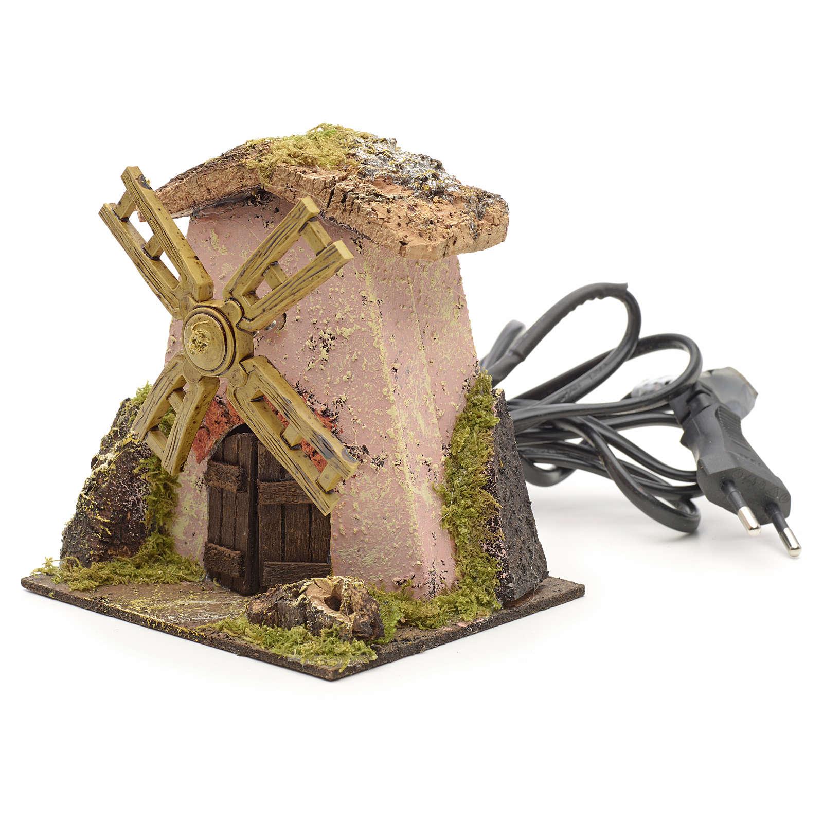 Moulin à vent rose pour crèche 13x11x12 4