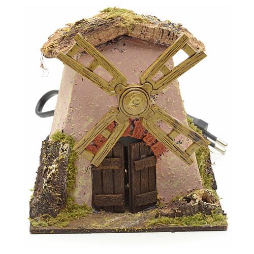 Moulin à vent rose pour crèche 13x11x12 1