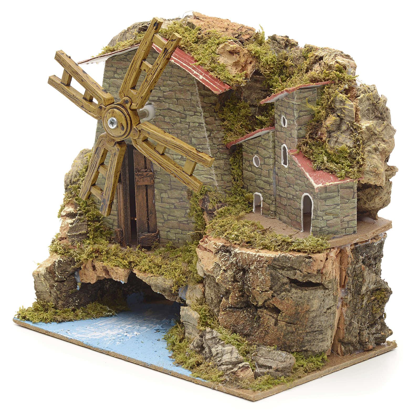 Moulin à vent ruisseau et bourg, crèche17x18x10 4
