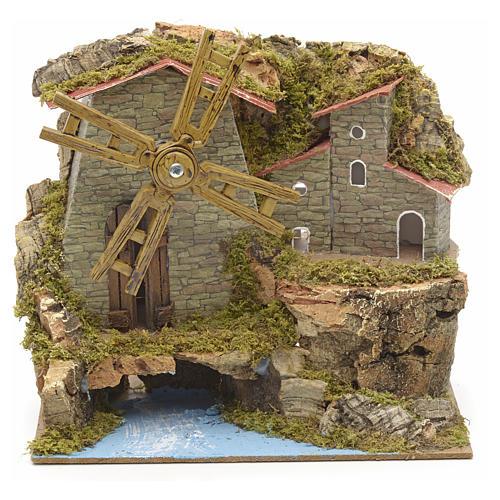 Moulin à vent ruisseau et bourg, crèche17x18x10 1