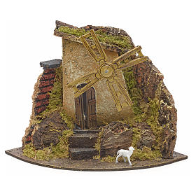 Nativity setting, wind mill with goat 17x22x17cm s1