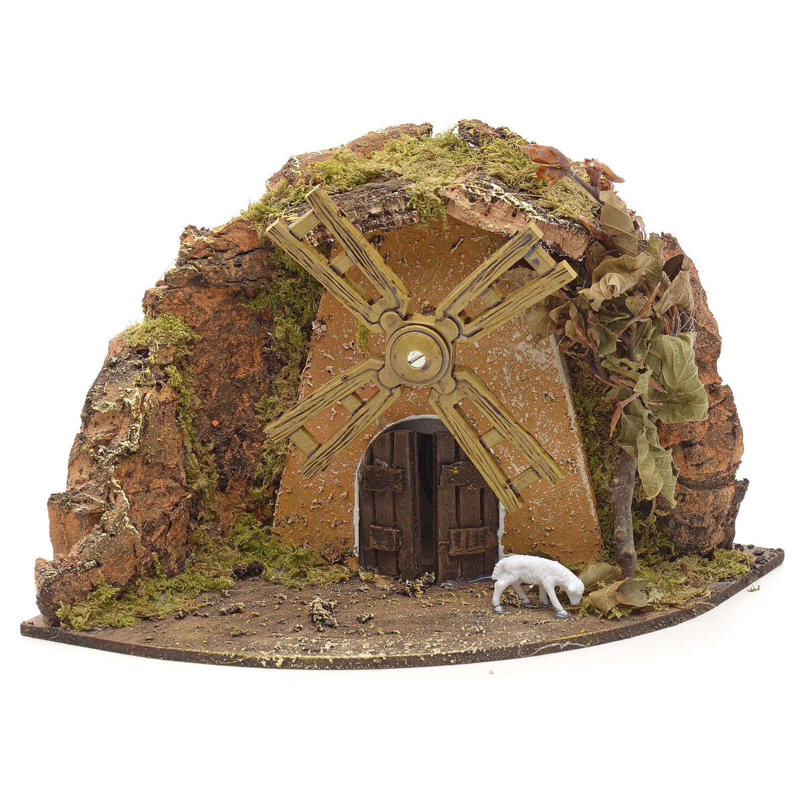 Nativity setting, wind mill with goat 13x22x14cm 4
