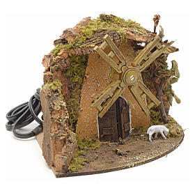 Nativity setting, wind mill with goat 13x22x14cm s2