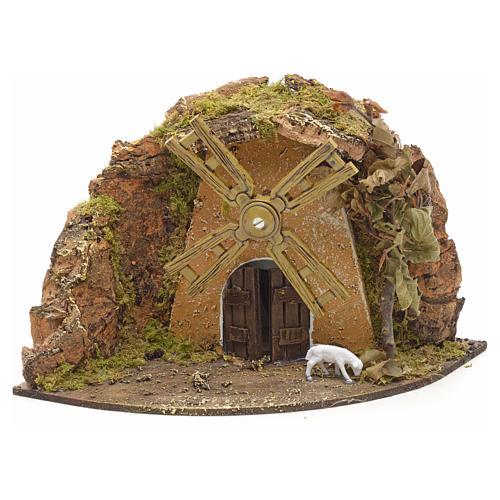 Nativity setting, wind mill with goat 13x22x14cm 1