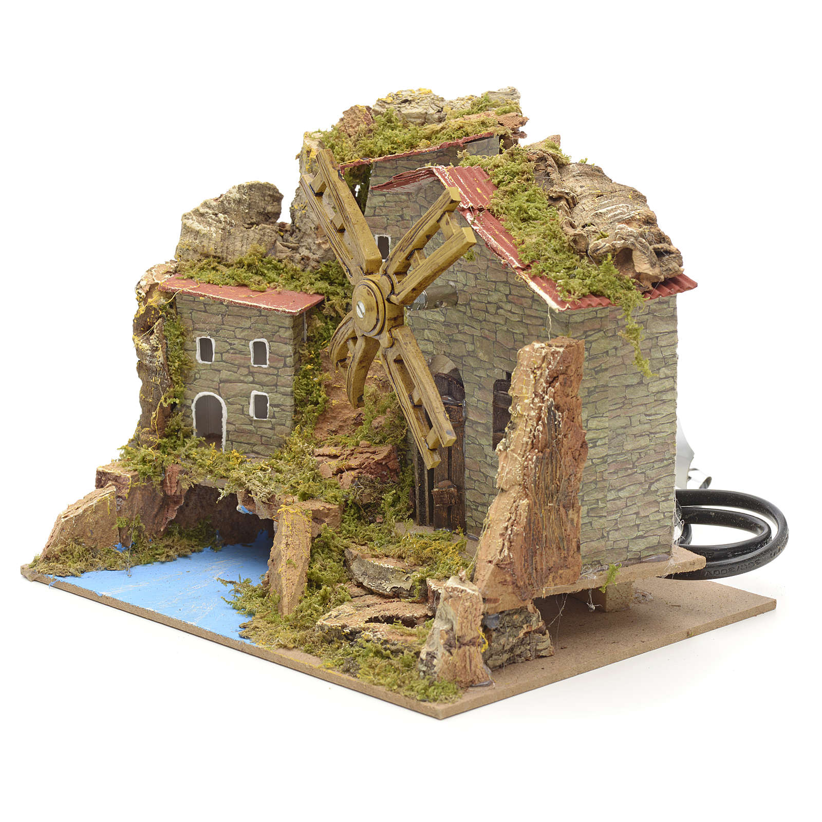 Wind mill for nativities with river and village 15x20x15cm 4