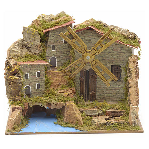 Wind mill for nativities with river and village 15x20x15cm 1