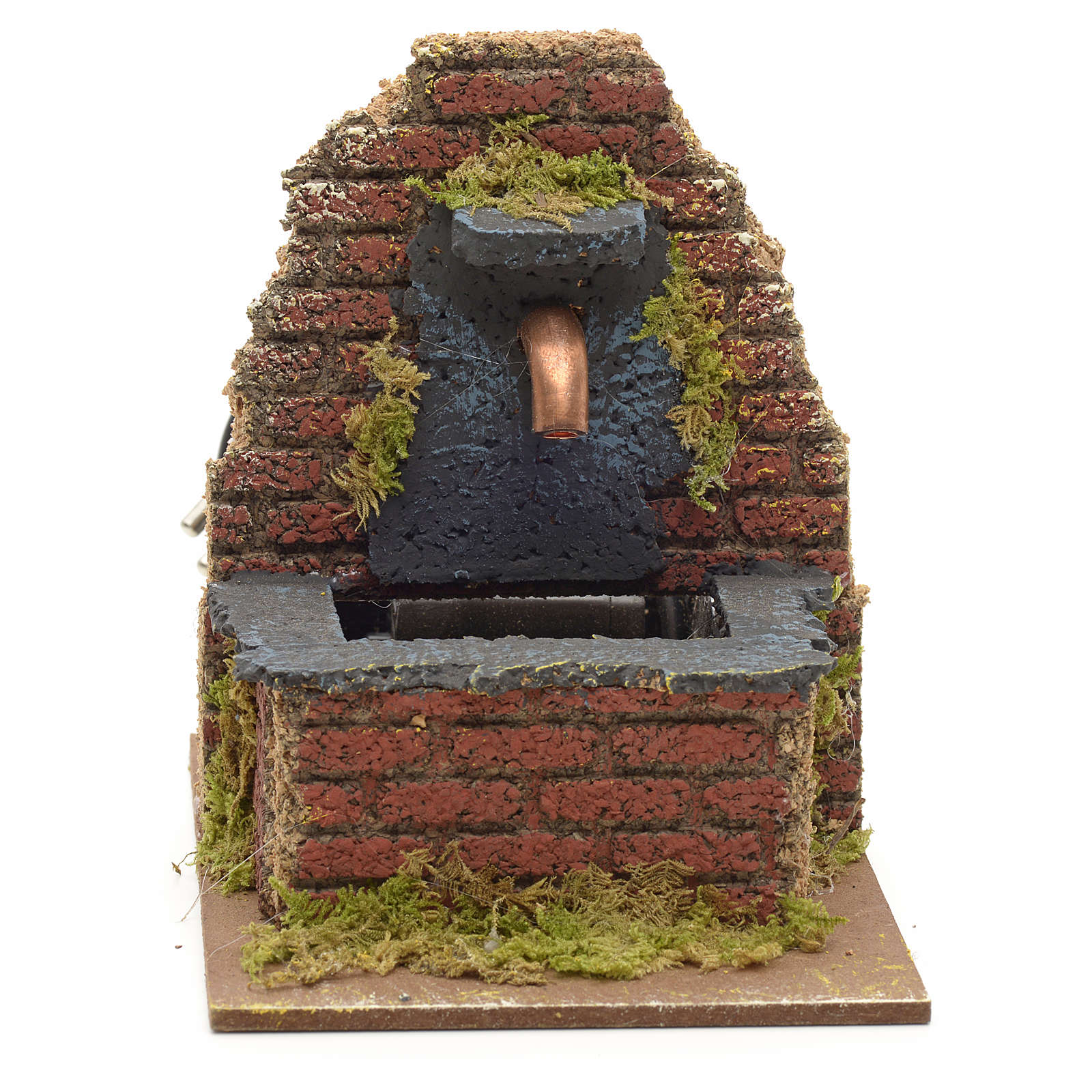 Fountain for nativities with wall on the back 13x10x15cm 4