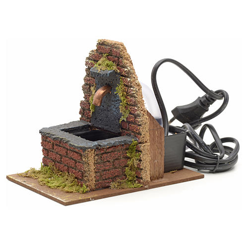 Fountain for nativities with wall on the back 13x10x15cm 2