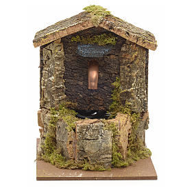 Nativity fountain with roofing made of cork 12x9x10cm s1