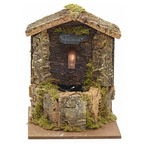 Nativity fountain with roofing made of cork 12x9x10cm 1