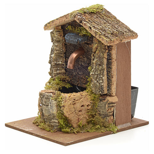Nativity fountain with roofing made of cork 12x9x10cm 2