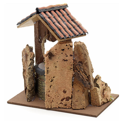 Nativity setting, well with roofing 15x10x10cm 3