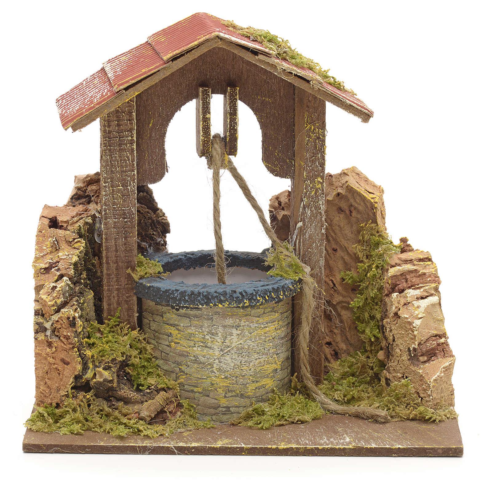 Puits en miniature pour crèche roche en liège et toit 15x15x10 4